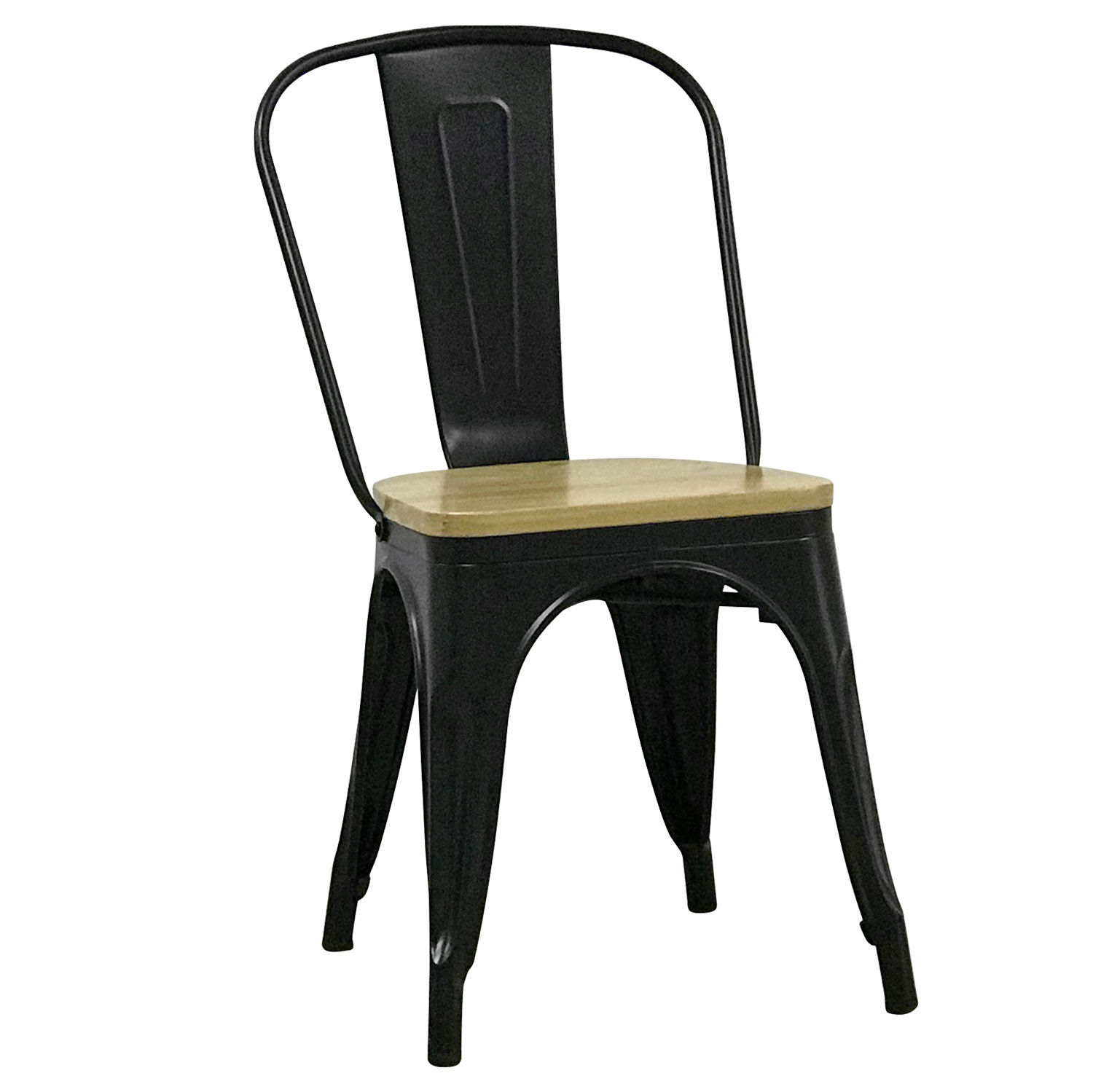 SILLA TOLIX NEGRA NATURAL WOOD
